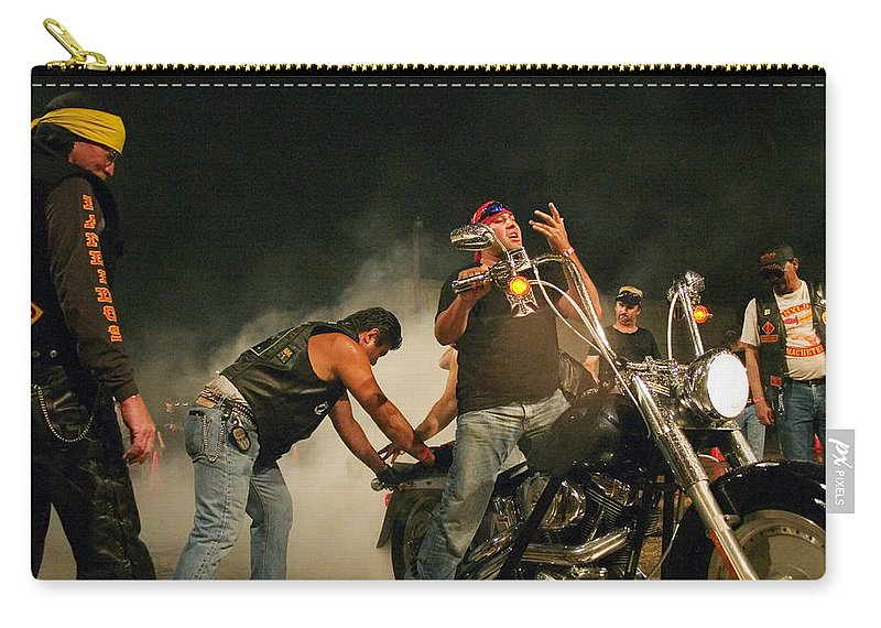 Biker Carry-all Pouch featuring the photograph Burn Out by Skip Hunt
