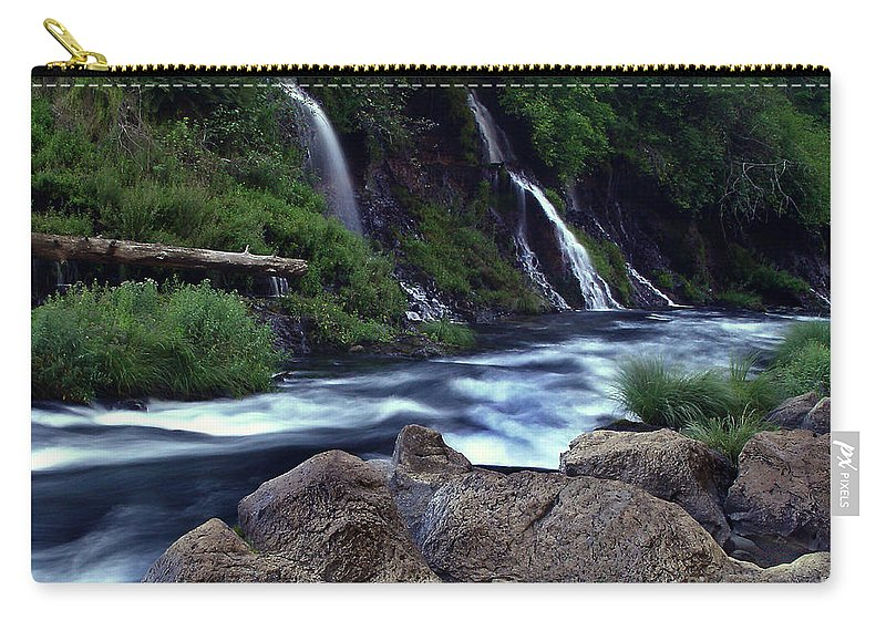 River Carry-all Pouch featuring the photograph Burney Falls Creek by Peter Piatt