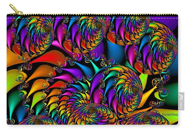Colorful Carry-all Pouch featuring the digital art Burning Embers- by Robert Orinski