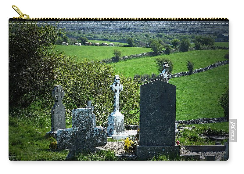 Irish Carry-all Pouch featuring the photograph Burren Crosses County Clare Ireland by Teresa Mucha