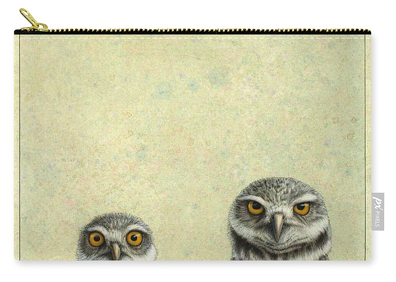 Owls Carry-all Pouch featuring the painting Burrowing Owls by James W Johnson