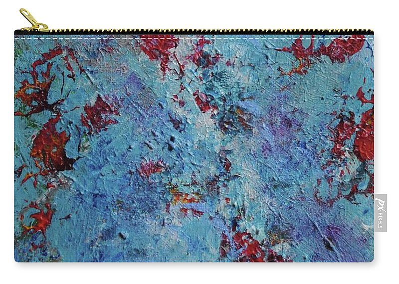 Blue Carry-all Pouch featuring the painting Burst by Margaret Fronimos