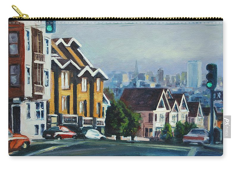 Cityscape Carry-all Pouch featuring the painting Bush Street by Rick Nederlof