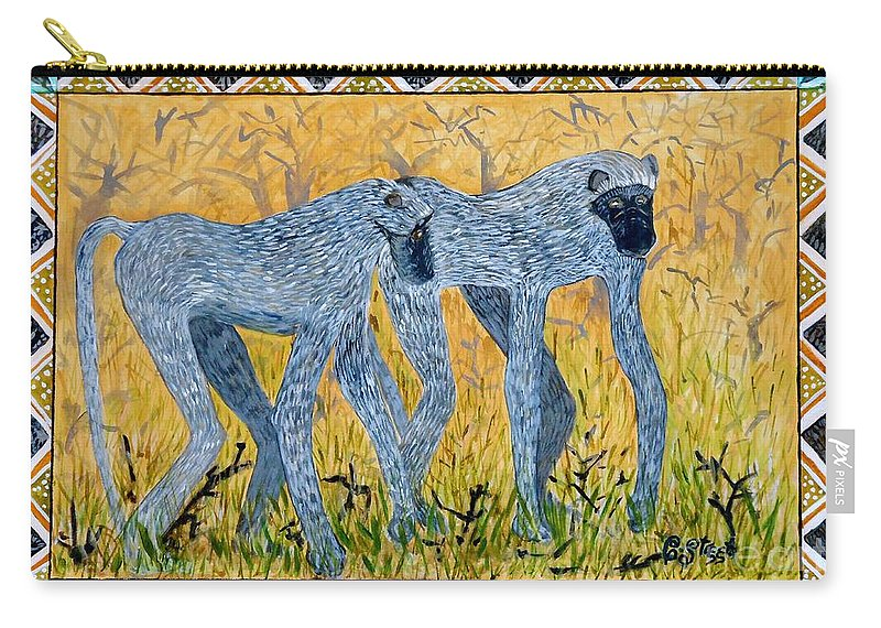 Primates Carry-all Pouch featuring the painting Bushveld Bliss by Caroline Street