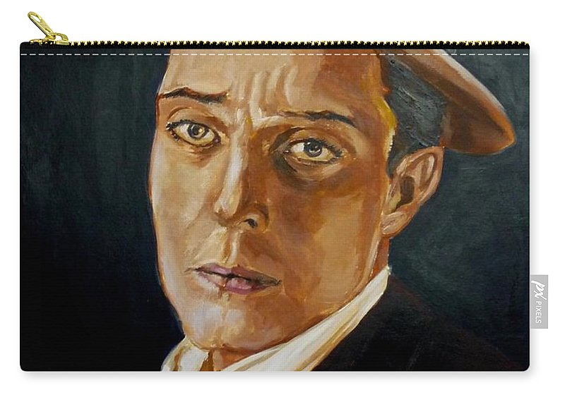 Comedy Carry-all Pouch featuring the painting Buster Keaton Tribute by Bryan Bustard
