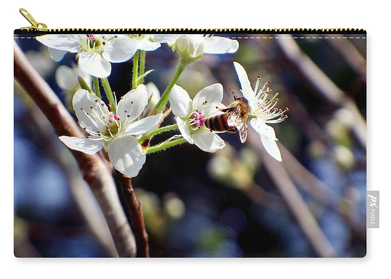 Pear Carry-all Pouch featuring the photograph Busy Bee by Betty Northcutt