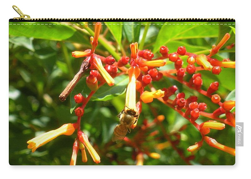 Bee Carry-all Pouch featuring the photograph Busy Bee by Maria Bonnier-Perez