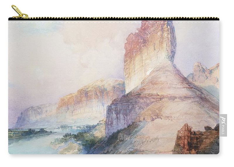 Thomas Moran Carry-all Pouch featuring the painting Butte Green River Wyoming by Thomas Moran