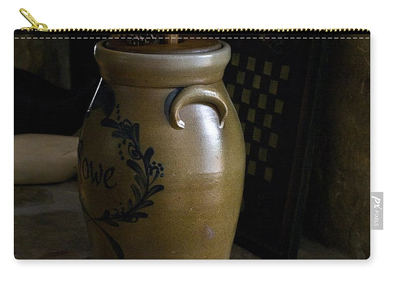 Butter Carry-all Pouch featuring the photograph Butter Churn on Hearth Still Life by Douglas Barnett