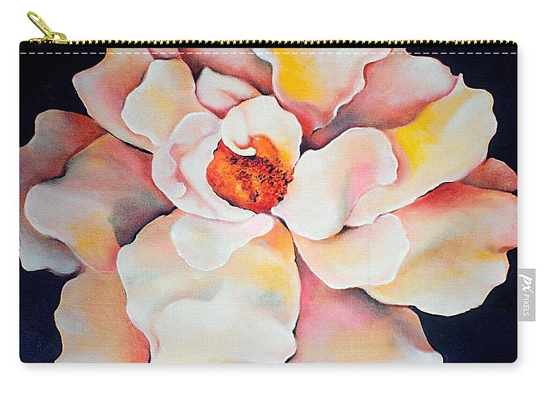 Large Floral Carry-all Pouch featuring the painting Butter Flower by Jordana Sands