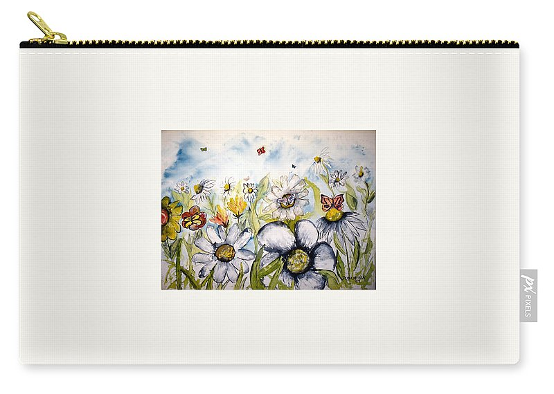 Butterfly Carry-all Pouch featuring the painting Butterflies and Flowers by Derek Mccrea
