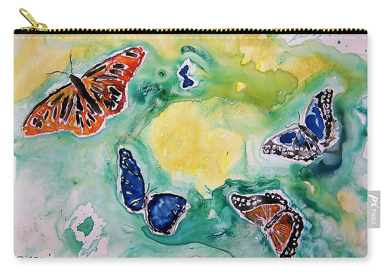Watercolour Carry-all Pouch featuring the painting Butterflies by Derek Mccrea