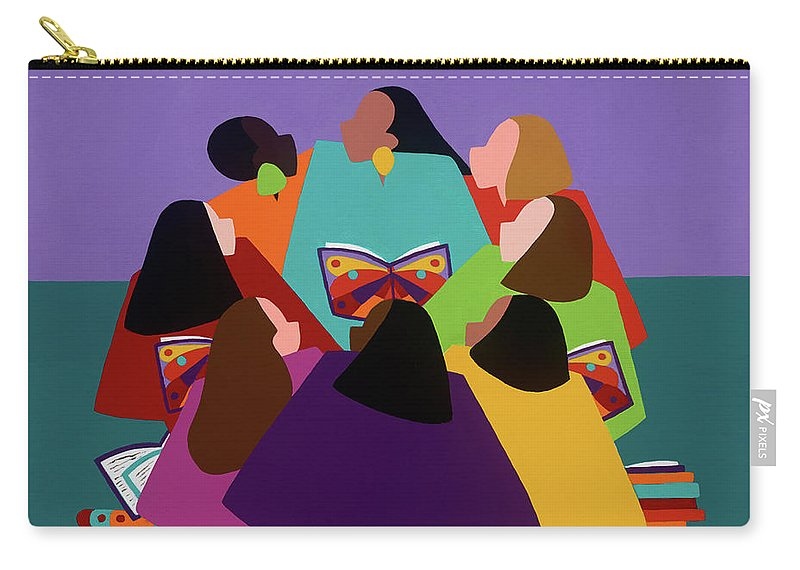 Multicultural Carry-all Pouch featuring the painting Butterflies Dream by Synthia SAINT JAMES