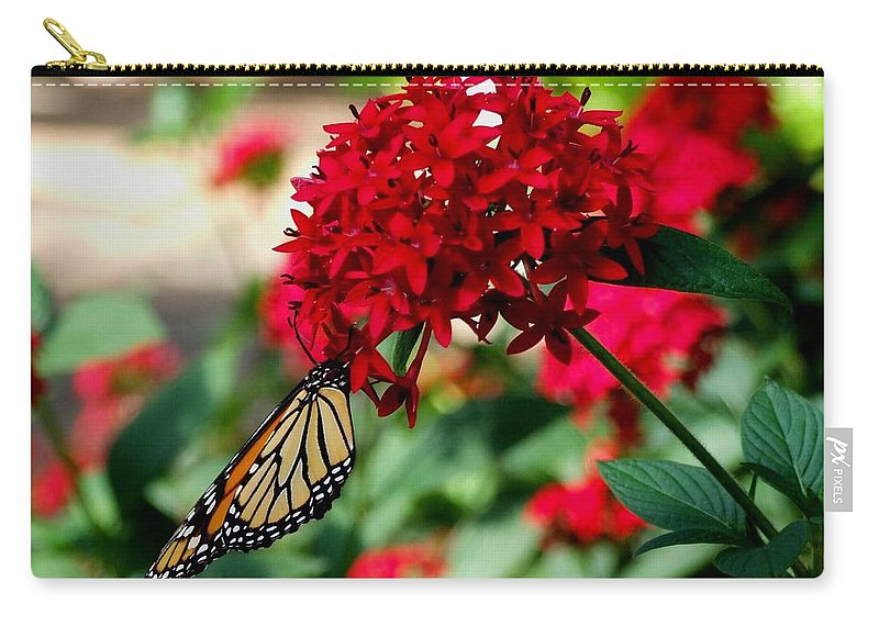 Red Carry-all Pouch featuring the photograph Butterfly Kiss by Michiale Schneider