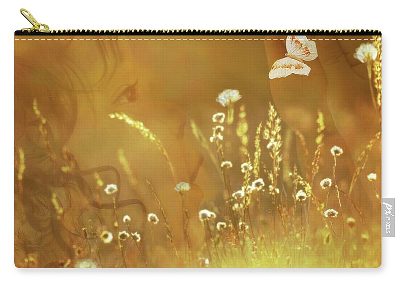 Fleurogeny Art Carry-all Pouch featuring the digital art Butterfly Kiss by Torie Tiffany