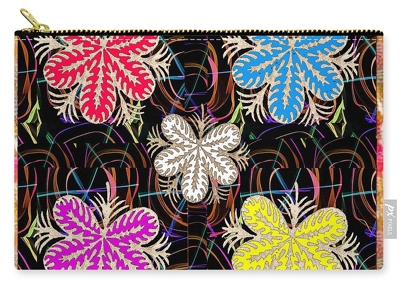 Flowers Carry-all Pouch featuring the mixed media Butterfly Look Graphic Flowers Colorful Art For A Cheerful Smiling Mood Great For Kids Room Party R by Navin Joshi
