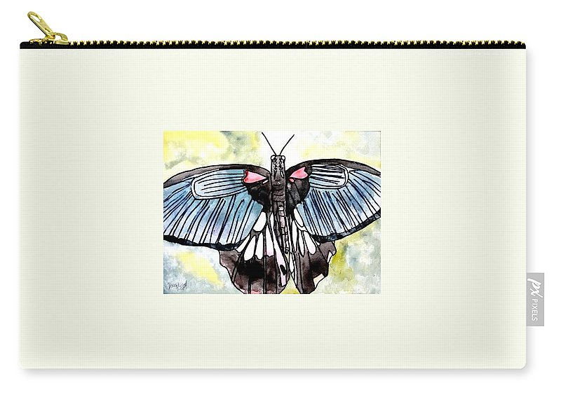 Watercolor Carry-all Pouch featuring the painting Butterfly Macro by Derek Mccrea