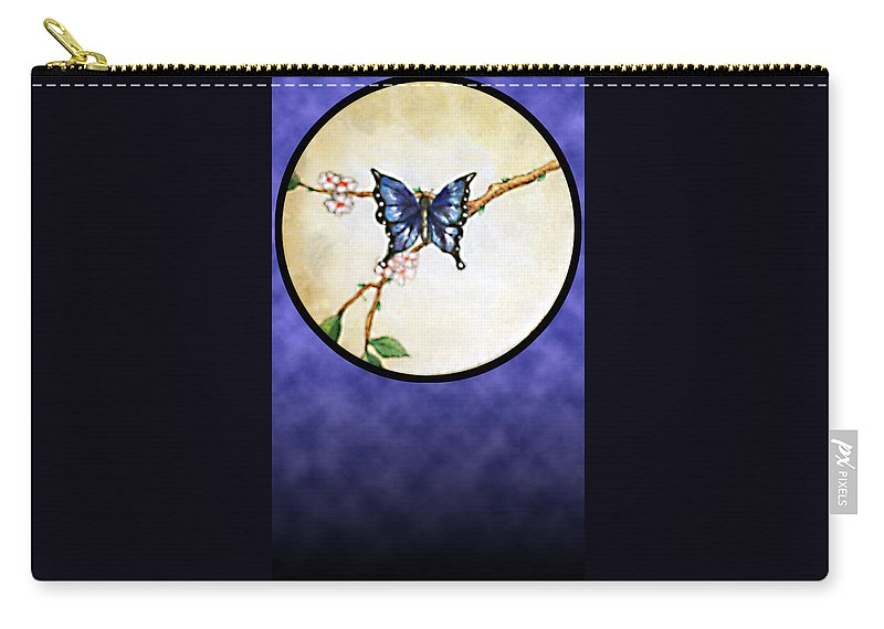 Butterfly Carry-all Pouch featuring the painting Butterfly Moon by Janice T Keller-Kimball