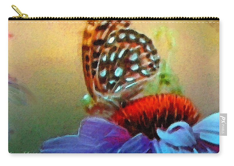 Butterfly Carry-all Pouch featuring the painting Butterfly On A Flower by Susanna Katherine