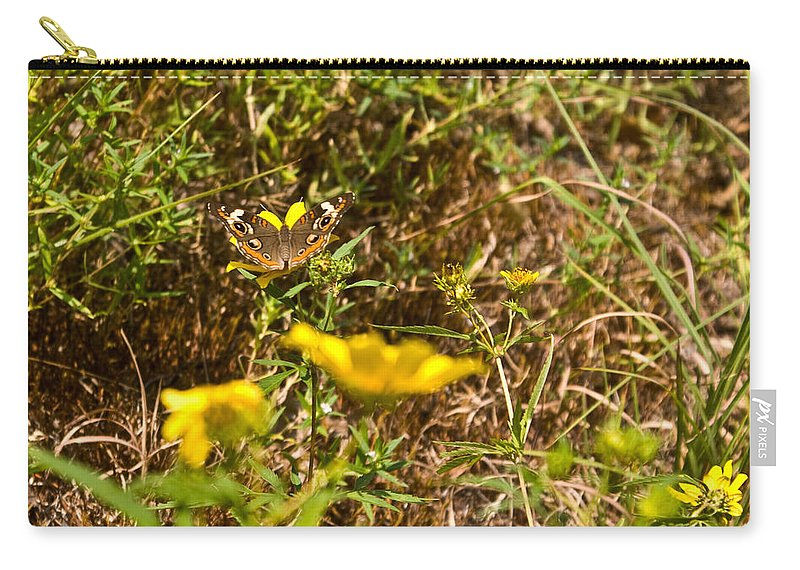 Butterfly Carry-all Pouch featuring the photograph Butterfly On Flower by Douglas Barnett
