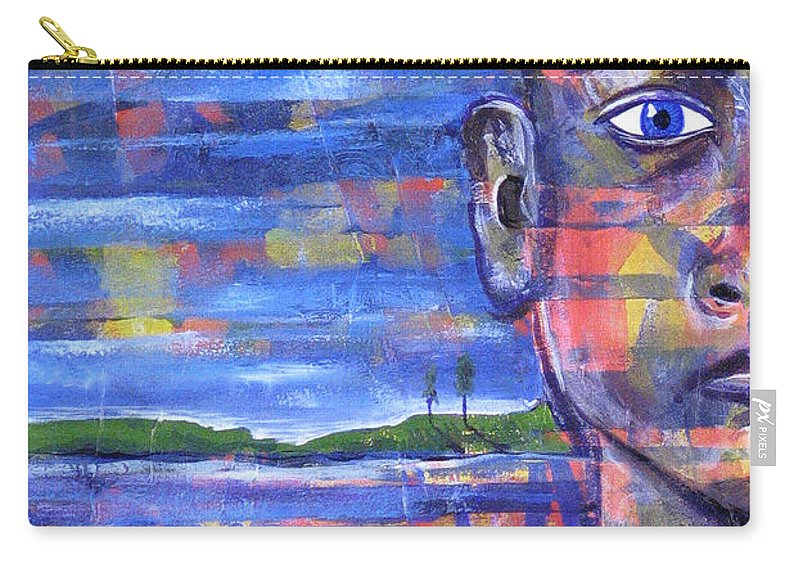 Face Carry-all Pouch featuring the painting Butterfly On My Shoulder by Rollin Kocsis