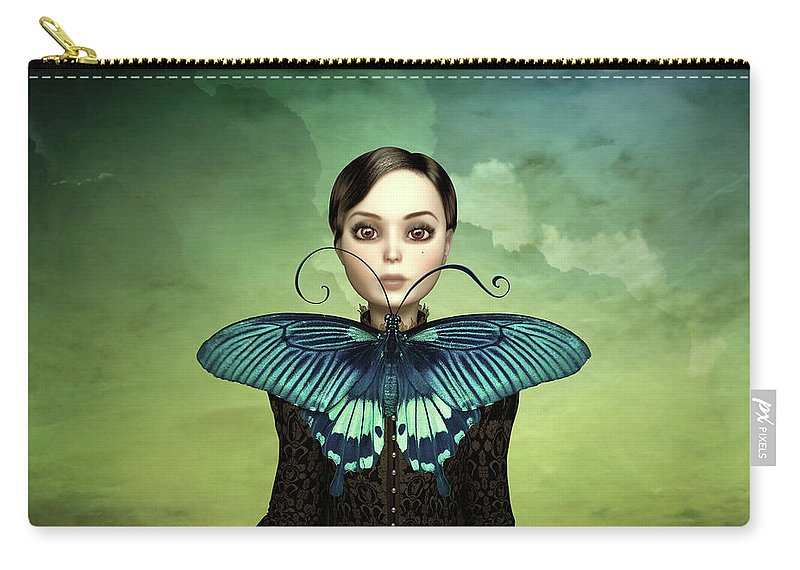 Butterfly Carry-all Pouch featuring the mixed media Butterfly Portrait In The Meadow by Britta Glodde