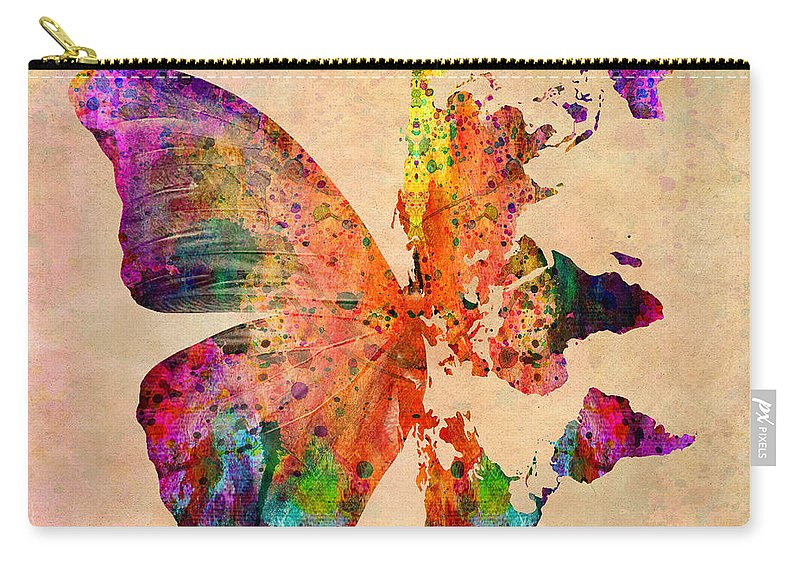 Butterfly World Map Carry All Pouch For Sale By Mark Ashkenazi