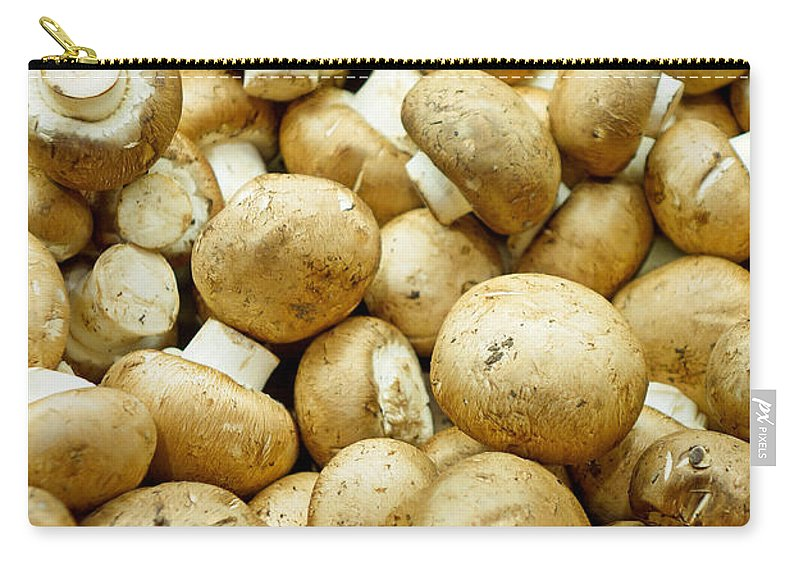 Button Mushrooms Carry-all Pouch featuring the photograph Button Mushrooms by Robert Meyers-Lussier