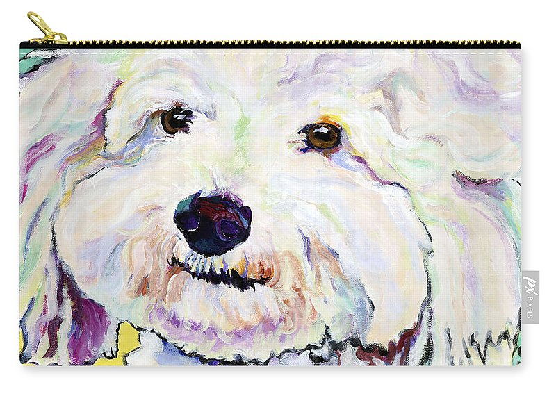 Bischon Carry-all Pouch featuring the painting Buttons  by Pat Saunders-White
