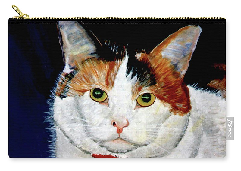 Cat Carry-all Pouch featuring the painting Buttons by Stan Hamilton