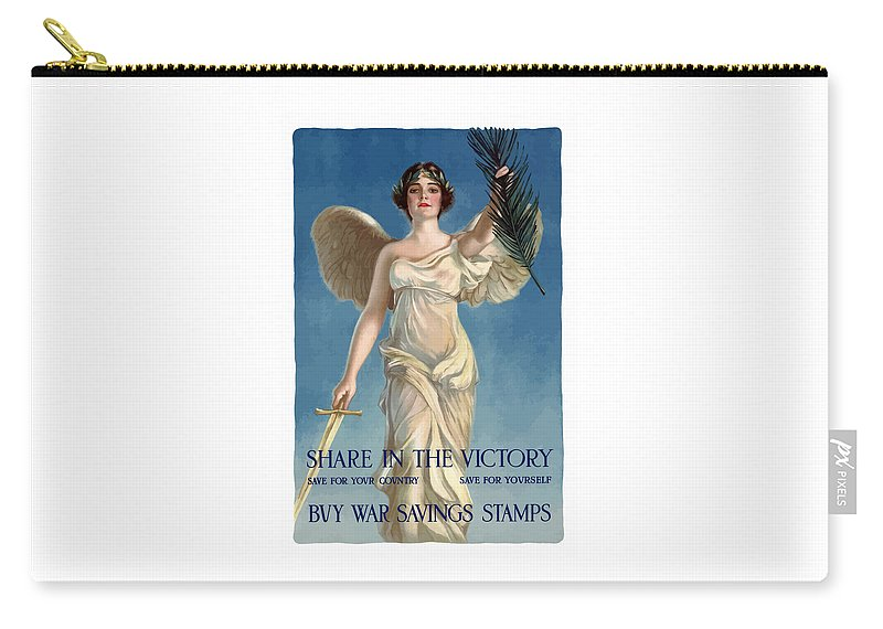 Lady Liberty Carry-all Pouch featuring the painting Buy War Savings Stamps by War Is Hell Store