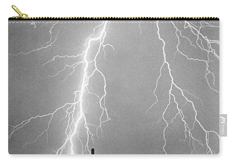 Lightning Carry-all Pouch featuring the photograph Bw Lightning From Heaven by James BO Insogna
