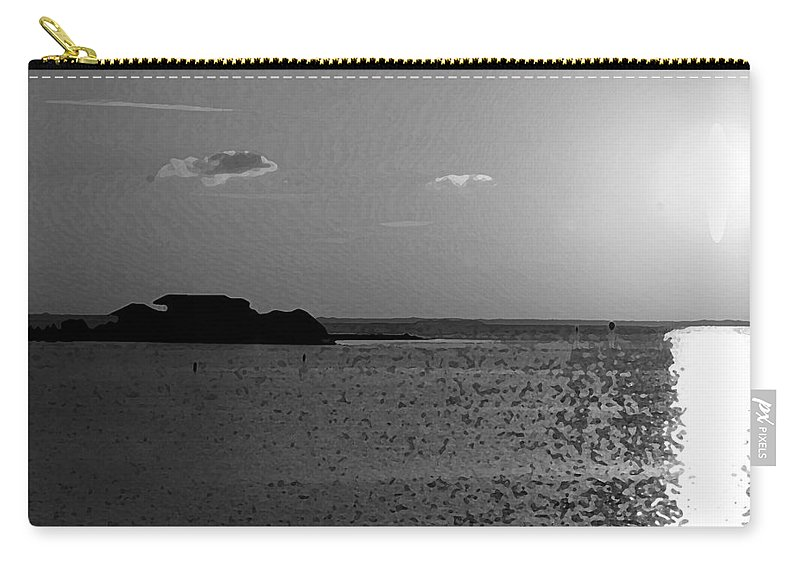 Pelican Carry-all Pouch featuring the photograph Bw Sunset House by Michael Thomas