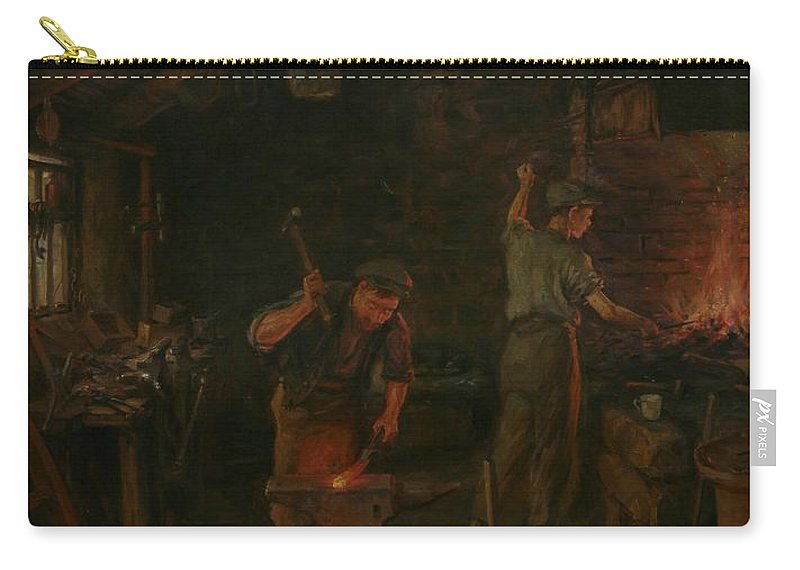 Interior Carry-all Pouch featuring the painting By Hammer And Hand All Arts Doth Stand by William Banks Fortescue