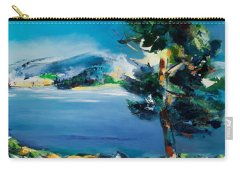 Landscape Nature Carry-all Pouch featuring the painting By The Lake by Elise Palmigiani