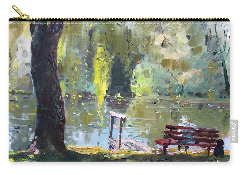 Lake Carry-all Pouch featuring the painting By The Lake by Ylli Haruni