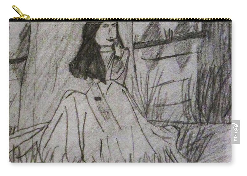 By The River Carry-all Pouch featuring the drawing By The River by Esther Race