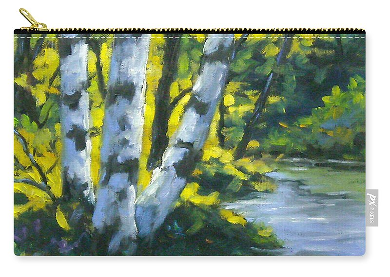Art Carry-all Pouch featuring the painting By The River by Richard T Pranke
