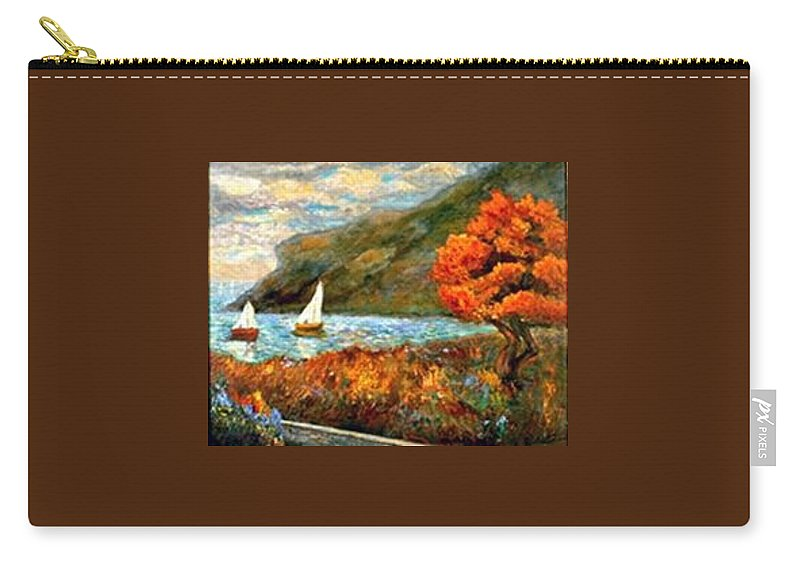 Sea Carry-all Pouch featuring the painting By The Sea by Gail Kirtz