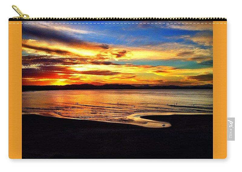 Beach Sunset Landscape Paradise Magical Relaxing Soothing Carry-all Pouch featuring the photograph Byron Bay Sunset by Adam Chambers