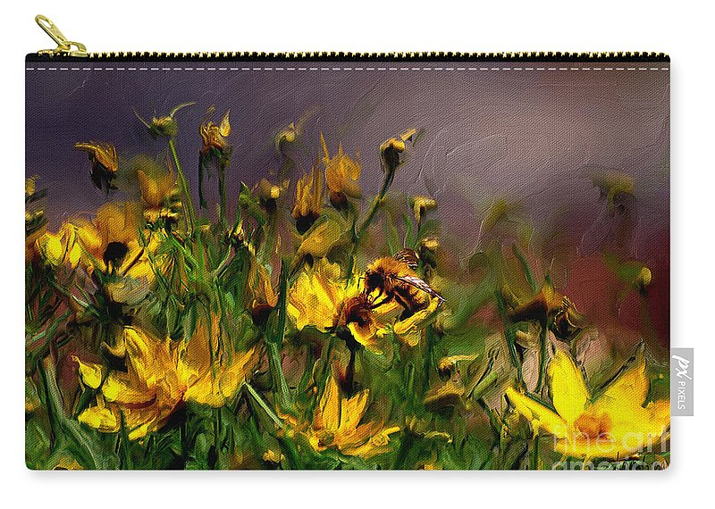 Floral Carry-all Pouch featuring the digital art Bzzzzz by Lois Bryan