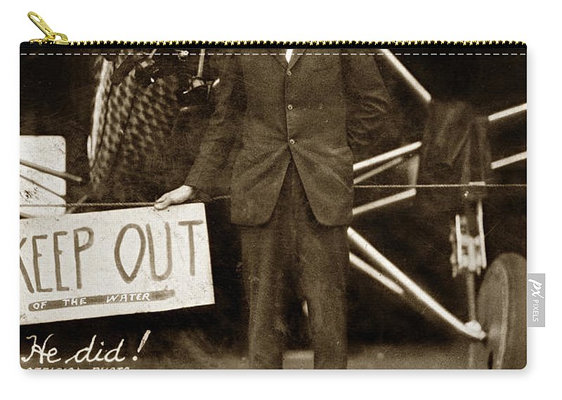 C. A. Lindbergh Carry-all Pouch featuring the photograph Charles A. Lindbergh And Spirit Of St. Louis 1927 by California Views Archives Mr Pat Hathaway Archives