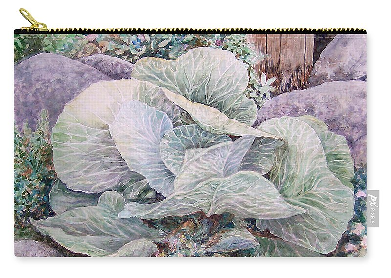 Leaves Carry-all Pouch featuring the painting Cabbage Head by Valerie Meotti