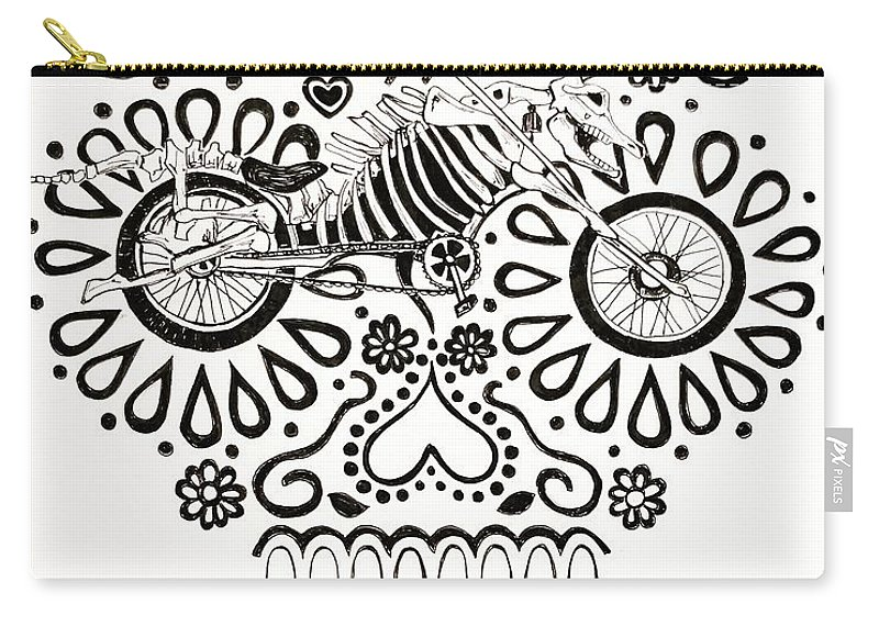 Sugarskulls Carry-all Pouch featuring the drawing Cabeza De Vaca-cicleta by John Parish
