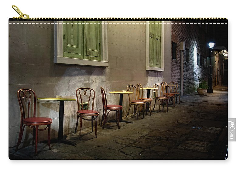 Cabildo Alley Tables Carry-all Pouch featuring the photograph Cabildo Alley Tables by Greg Mimbs
