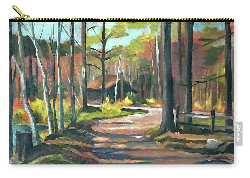 Halls Lake Carry-all Pouch featuring the painting Cabin By The Lake En Plein Air by Nancy Griswold