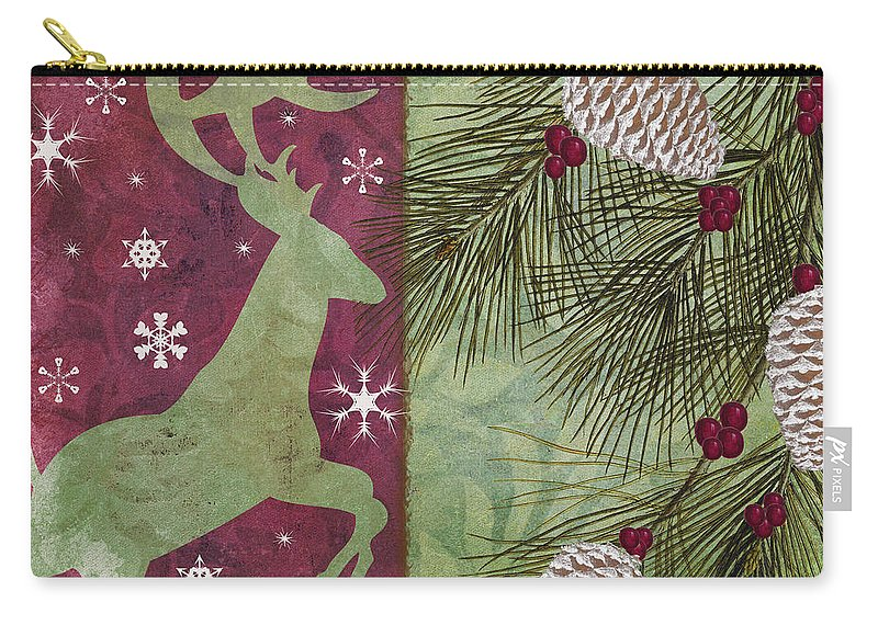 Christmas Reindeer Carry-all Pouch featuring the painting Cabin Christmas II by Mindy Sommers