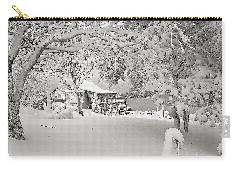 Cabin Carry-all Pouch featuring the photograph Cabin In Snow By The Sea by Robert Ponzoni