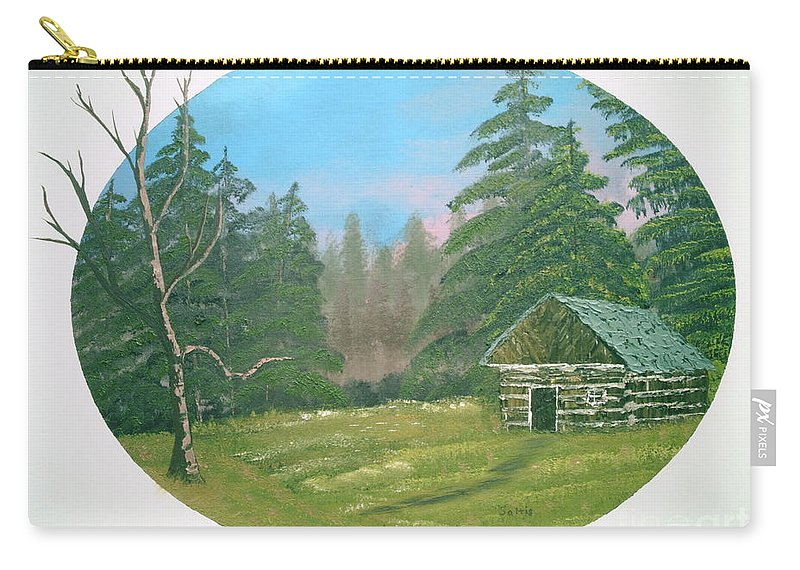 Landscape Carry-all Pouch featuring the painting Cabin In The Meadow by Jim Saltis
