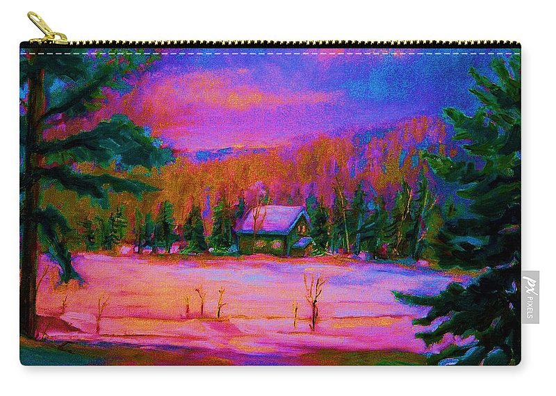 Winterscenes Carry-all Pouch featuring the painting Cabin In The Woods by Carole Spandau